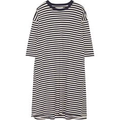 The Great The Square striped cotton-jersey dress ($140) ❤ liked on Polyvore featuring dresses, vestidos, slip on dress, striped dress, blue striped dress, stripe dresses and americana dress