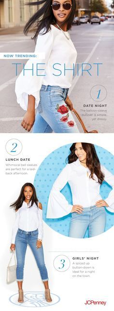 The long-sleeve white shirt is better than ever. With style options like balloon sleeves, bell sleeves and cold shoulders, it's a versatile must-own. Works great with cropped jeans, midi skirts and everything in between.
