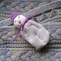 Lavender Filled Valentine Sock Doll White w/Lavender Heart Eyes Red Heart Mouth #Pedricks