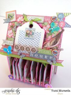 This is a gorgeous altered Botanical Tea birdhouse by Yumi! She even has a tutorial for this beauty #Graphic45