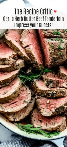 Garlic Herb Butter Beef Tenderloin Garlic Herb Butter Beef Tenderloin is a juicy tenderloin seared and roasted with herb butter seasonings all baked to a buttery perfection! Impress your guests with this beautiful beef tenderloin! Perfect Beef Tenderloin, Beef Tenderloin Roast, Roasted Beef Tenderloin Recipes, Rib Roast, Meat Recipes, Dinner Recipes, Cooking Recipes, Drink Recipes, Free Recipes