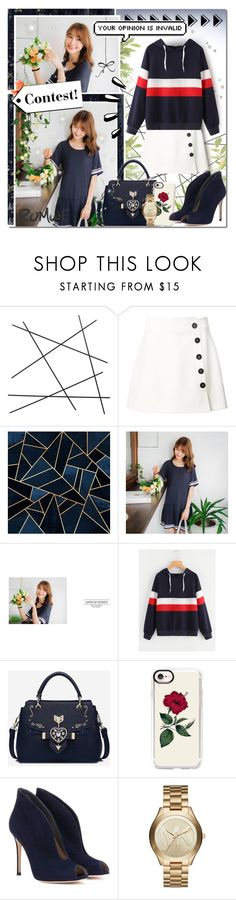 """""""Striped Navy And Flowers [Contest]"""" by angelstylee ❤ liked on Polyvore featuring CB2, Misha Nonoo, Casetify, Gianvito Rossi, Michael Kors and Old Navy"""