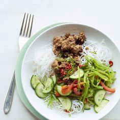This Asian salad offers variety of flavors and texture, make this quick and healthy meal today! Recipe: Gingery Asian Noodle Salad with Turkey and Cucumbers   - Delish.com