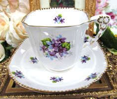 Royal Stafford A F Flower Handle Tea Cup and Saucer Sweet Violets | eBay