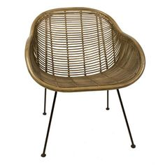 Superb rattan and metal leg armchair. Handmade using environmentally sustainable materials. It is 67cm wide x 48cm deep x 79cm high with a seat height of 42cm.