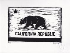 Bear Flag by Eric at 3 Fish Studios. California Bear, California Republic, Street Art, 3 Fish, Art Graphique, Wood Engraving, Linocut Prints, Life Photography, Letterpress