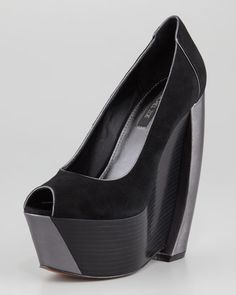 Rachel Zoe Hudson Suede Stacked Pump - Neiman Marcus - I can live without suede but the design on these is wild, I love it.