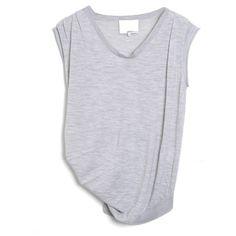 drape neck sleeveless merino sweater ($169) ❤ liked on Polyvore featuring tops, t-shirts, shirts, tees, women, no sleeve t shirts, scoop shirt, sleeveless shirts, sleeveless tops and tee-shirt