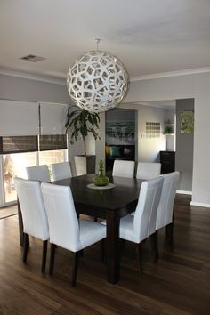 Dining room with David Trubridge light