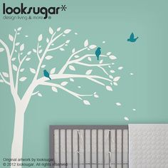 """Perfect bird tree decal for your baby nursery.    REF: Bird Tree Decal - 0068    Our vinyl is made from commercial grade material (Made in USA); therefore, it's in high quality and durable. All our decals can be removed from your walls without leaving any sticky residue, and will not make any damage to your wall paint.  ___________________________________________________________________    ★Size:    Tree dimension: 63""""w x 82""""h - lift or lower to fit your space  (See photo for more…"""