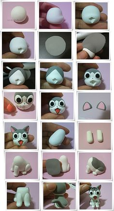 Cute cat cupcake or cake topper. Even though uses Fimo as a medium, would translate well using fondant or gumpaste. Fimo Polymer Clay, Polymer Clay Animals, Polymer Clay Projects, Polymer Clay Creations, Chat Kawaii, Jumping Clay, Clay Cats, Clay Figures, Clay Dolls