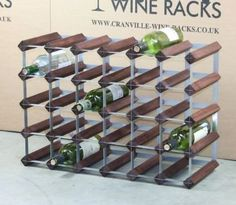 Classic 30 (6x4) bottle dark oak stained wood and galvanised metal wine rack ready assembled
