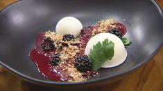 Smoked Frozen Yoghurt with Blackberry, Beetroot and Red Wine Sauce