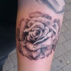 Sheet music rose Forearm Tattoo.What a cool tattoo design idea! Love it very much! This will be my next tattoo design. via forcreativejuice....