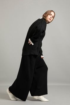A/W Stretch Lily Knit Cable Sweater Middle Gauge Wool Knit Salopette