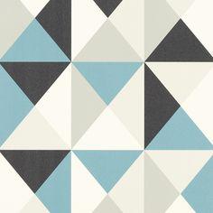Papier peint BILL, expansé sur intissé motif polygone géométrique, bleu…