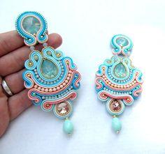 Soutache Earrings - Long Clip On Earrings , Unique Bridal Earrings , Handmade Jewelry , Handmade Earrings with Milky Green Beads Pageant Earrings, Big Earrings, Bridal Earrings, Beaded Earrings, Clip On Earrings, Statement Earrings, Earrings Handmade, Soutache Bracelet, Soutache Jewelry