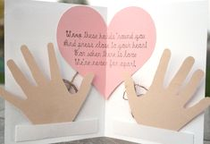 Remind someone how much you love and miss them with this hug in a card. This little card holds two hands inside attached to string, and a poem telling them how to enjoy their hug! Grandparents Day Crafts, Fathers Day Crafts, Diy Father's Day Gifts, Craft Gifts, Baby Crafts, Toddler Crafts, Craft Activities For Kids, Crafts For Kids, Baby Activities