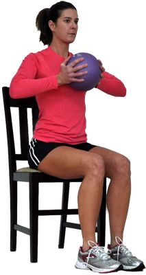 Try This Seated Total Body Workout for Overweight and Obese Exercisers: Chest Squeeze with Med Ball