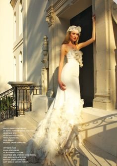 Enchanted Atelier for Maison Sophie Hallette {Dauphina} French lace cap in Houston Weddings magazine.