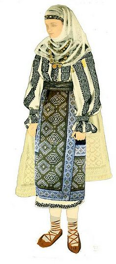 Traditional Romanian Folk Costume from Southern Romania, an area called Muscel, county of Arges. Folk Costume, Costume Dress, Costumes, Ethnic Outfits, Ethnic Dress, Ethnic Clothes, Folk Embroidery, Embroidery Patterns, Folk Dance