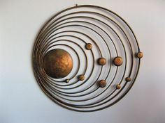 Solar System Of Sun And 9 Planets Handmade Metal Wall Art Deco Hanging Sculpture Copper Wall Art, Metal Wall Art Decor, Copper Metal, Wood And Metal, Wood Wall, Contemporary Metal Wall Art, Modern Wall, Metal Sculpture Wall Art, Wall Sculptures