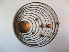 Solar System Of Sun And 9 Planets Handmade Metal Wall Art Deco Hanging Sculpture Copper Wall Art, Metal Wall Art Decor, Metal Wall Sculpture, Copper Metal, Wall Sculptures, Sculpture Art, Wood Wall, Contemporary Metal Wall Art, Modern Wall