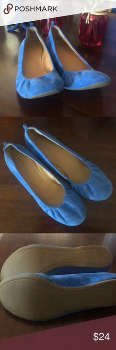 J CREW Blue Suede (Shoes) Flats Purchased on Posh, but fit a little snug for me.  Excellent condition. J. Crew Shoes Flats & Loafers