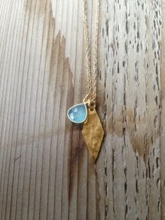 Hammered Diamond Necklace with Bezel Stone Charm by joydravecky, $48.00