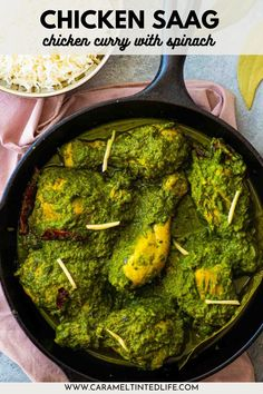 Saag Chicken is a delicious chicken curry made in spinach and spices. Easy and authentic Indian chicken curry recipe that can be easily made at home! #easy #quick #healhy #green #spinach #recipe #saag Healthy Indian Recipes, North Indian Recipes, Ethnic Recipes, Authentic Indian Chicken Curry, Spinach Curry, Spinach Stuffed Chicken, Marinated Chicken, Yum Yum Chicken