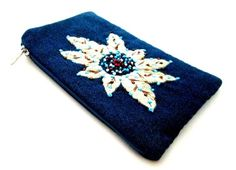 iPurse® Purse/Wallet/Pouch - Edelweiss (embroidery, beaded) -Wallet/ Phone case/Wallet/Evening purse/Pouch