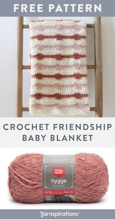 Free Crochet Friendship Baby Blanket pattern using Red Heart Hygge yarn. Crochet a cozy baby blanket for a dear friend and their newborn. This free crochet pattern features a gorgeous boho inspired design, along with the soft textures of Red Heart Hygge yarn. Hygge is a super soft and cozy yarn that capitalizes on the popular Hygge trend - evoking feelings of well-being and contentment. #Yarnspirations #FreeCrochetPattern #BabyBlanket #RedHeartYarn #RedHeartHygge Afghan Patterns, Crochet Blanket Patterns, Knit Or Crochet, Free Crochet, Contentment, Red Heart Yarn, Dear Friend, Hygge, Knitting Projects