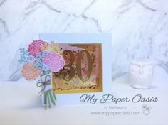 My Paper Oasis - Shaker Shadow Box Card using Beautiful Bouquet from Stampin' Up! School Holidays, Design Tutorials, Shadow Box, Oasis, Stampin Up, Bouquet, Place Card Holders, Create, Paper
