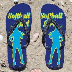 Softball Girl on Blue Flip Flops | Softball Sandals | Softball Flip Flops