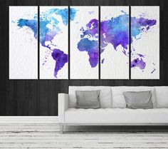 colored watercolor world map canvas print large wall art watercolor