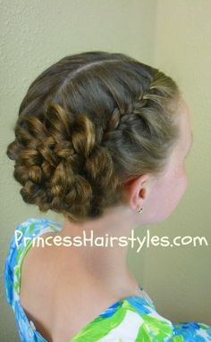 prom hairstyle, braided flower updo