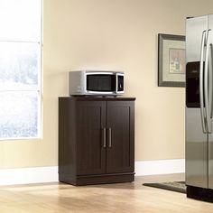 Wood Storage Cabinet Homeplus Base Dakota Oak Transitional Microwave Cart Stand #StorageCabinet