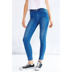 BDG Twig Grazer High-Rise Jean - Indigo Faith ($69) ❤ liked on Polyvore featuring jeans, indigo, high rise skinny jeans, high rise jeans, blue jeans, high waisted blue jeans and high waisted skinny jeans
