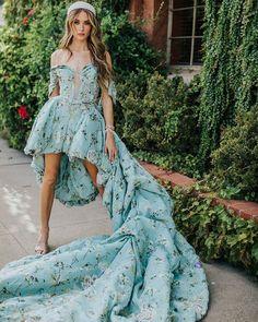 Something Chic: 24 Blue Wedding Dresses For Your Happy Wedding ❤ blue wedding dresses high low off the shoulder strapless neckline train ines di santo #weddingforward #wedding #bride #weddingoutfit #bridaloutfit #weddinggown