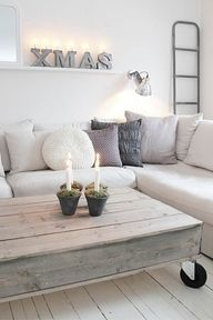 I like the neutral colors of both coffee table and couch - ruthie ♂ Neutral color home deco nature wood Home Living Room, Living Spaces, Vibeke Design, Home And Deco, My New Room, Pallet Furniture, Furniture Ideas, Entryway Furniture, Deck Furniture