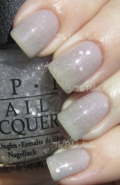 OPI | Pirouette My Whistle (glitter with clear base) over OPI | My Pointe Exactly (sheer gray) #nailpolish #opi