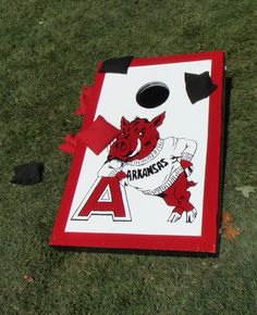Can't have a Razorback Tailgate without Corn Hole!