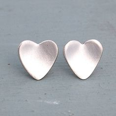 Frosted handmade heart earrings
