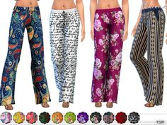 Wide leg printed pants with an elasticized waist, and drawstring tie. 15 different colors.  Found in TSR Category 'Sims 4 Female Everyday'
