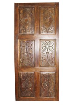 Unique Masterpiece of Handmade Vintage Door Panel Discover an amazing great Indian work of art designed out of great passion and creativity. Reclaimed Wood Door, Wooden Barn Doors, Teak Wood, Hand Carved, Carved Door, Indian Doors, Antique Doors, Architectural Antiques, Interior Barn Doors