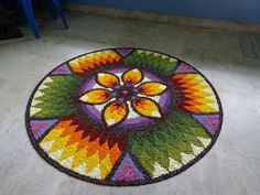 Rangoli Designs Flower, Flower Rangoli, Beach Mat, Outdoor Blanket, Floral, Flowers, Indian Style, Home Decor, Ideas