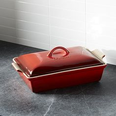 """Le Creuset ® Heritage Covered Rectangle Cerise Red Baking Dish. 9""""Wx14.5""""Dx5""""H"""