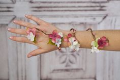 Flower Wrap Cuff Flower Arm Band Pink and White by RuthNoreDesigns