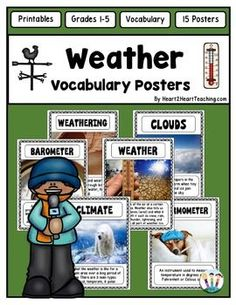 Great for your Weather Unit! You will love these 16 colorful eye-catching vocabulary posters for your unit on Weather!This pack includes 16 attractive vocabulary posters with real life photos perfect for bulletin boards and for students to connect to the information.