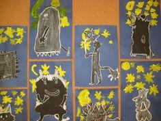 Kuvis ja askartelu - www.opeope.fi. Örkit kuutamolla. Erityisesti pojat innostuivat :) Spring, Art Ideas, Halloween, Kids, Crafts, Painting, Monsters, Young Children, Boys